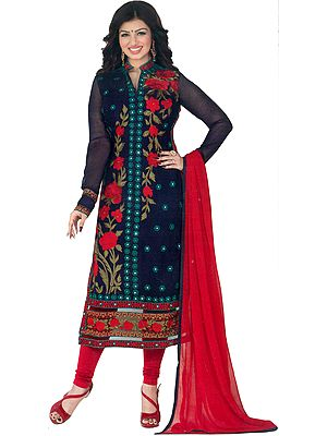 Eclipse-Blue and Red Ayesha Long Choodidaar Kameez Suit with Phulkari Embroidery