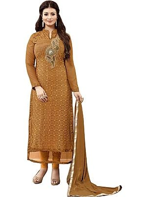 Bone-Brown Ayesha Long Chudidar Kameez Suit with Chikan-Embroidered Flowers and Zardozi Patch