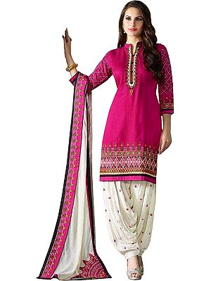 Magenta and Ivory Embroidered Patiala Salwar Kameez Suit with Bootis on Salwar and Paches on Dupatta