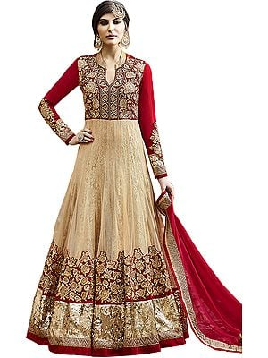 Red and Golden Bridal Heavy Anarkali Suit with Floral Zari-Embroidery and Wide Sequined Border