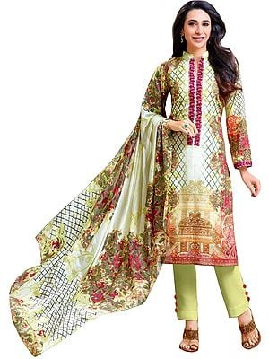 Glass-Green Karishma Digital-Printed Parallel Salwar Suit with Embroidered Patch on Neck