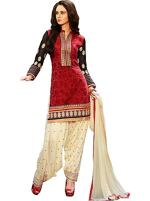Red and Ivory Patiala Salwar Kameez Suit with Woven-Flowers and Embroidered Patches