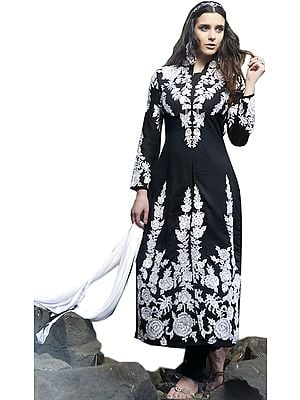 Black and White Long Chudidar Kameez Suit with Embroidered Roses and Crystals