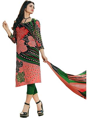 Pink and Green Trouser Salwar Kameez Suit with Printed Leaves