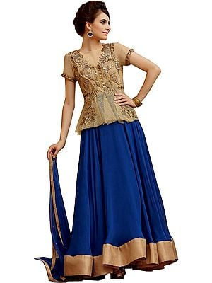 Golden and Blue Wedding Anarkali Suit with Zari-Embroidered Flowers and Crystals