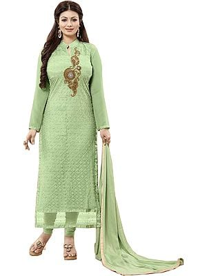 Quiet-Green Ayesha Long Choodidaar Kameez Suit with Chikan-Embroidery and Zardozi-Patch