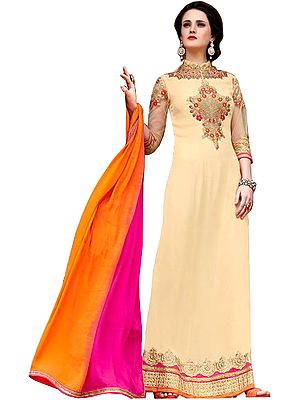 Apricot-Sherbet Floor Length Parallel Salwar Suit with Embroidery and Sequins