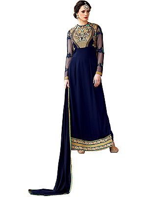 Twilight-Blue Floor Length Chudidar Kameez Suit with Zari-Embroidery and Sequins