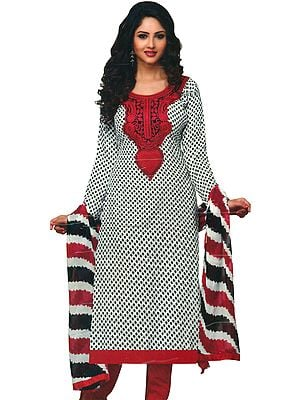 White and Red Chudidar Kameez Suit with Printed Bootis and Embroidered Patch on Neck