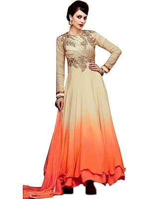 Cream and Orange Double-Shaded Anarkali Suit with Zari Floral-Embroidery and Crystal-work