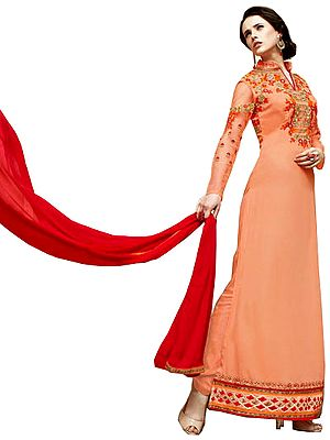 Peach-Cobbler Wedding Floor Length Chudidar Kameez Suit with Floral-Embroidery and Sequins