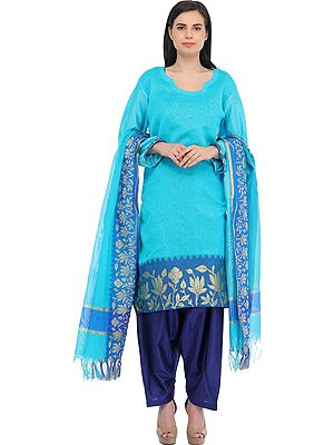 Plain Salwar Kameez Suit from Banaras with Woven Golden Flowers