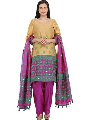 Marzipan and Purple Salwar Kameez Suit from Assam with Woven Bootis and Paisleys