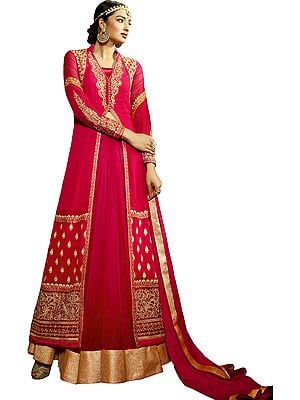 Paradise-Pink Bridal Lehenga Suit with Golden-Embroidery and Crystals