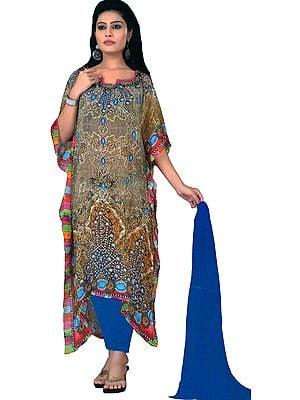 Mojave-Desert and Blue Digital-Printed Chudidar Kaftan Suit with Stone-work on Neck