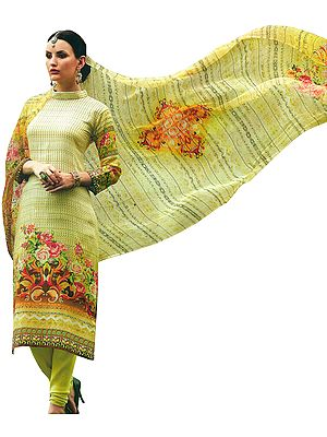 Luminary-Green Choodidaar Salwar Kameez Suit with Digital-Printed Roses and Chiffon Dupatta