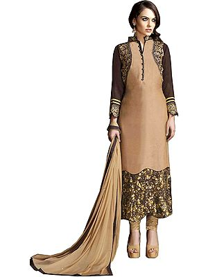 Beige and Brown Designer Long Chudidar Kameez Suit with Zari-Embroidery and Dense Sequins on Border