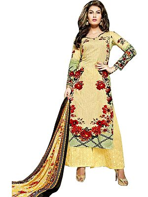 Yellow and Green Long Parallel Salwar Suit with Printed Flowers and Thread-Embroidery on Salwar