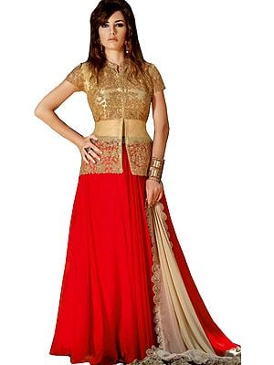 Golden and Red Designer Three-Piece Skirt and Top with Embroidery and Sequins