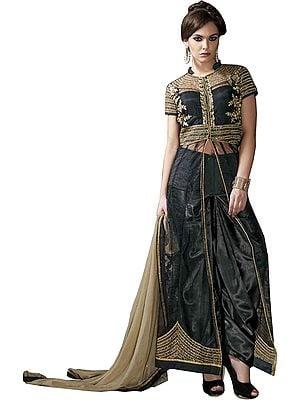 Jet-Black Designer Long Salwar Suit with Golden-Embroidery and Sequins