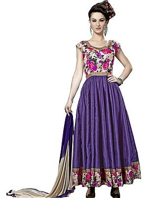 Purple-Opulence Anarkali Suit with Printed Roses and Gota Border
