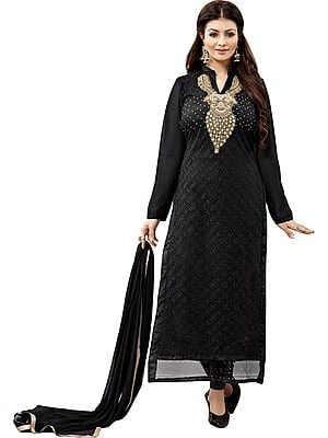 Jet-Black Ayesha Long Chudidar Kameez Suit with Chikan-Embroidery in Self and Zardozi-Patch