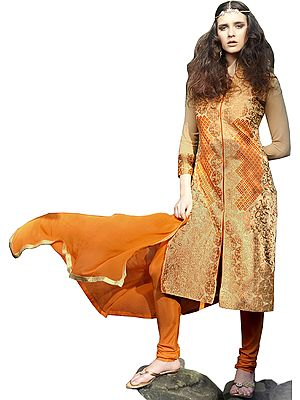 Honey-Peach and Orange Chudidar Kameez Suit with Embroidery in Zari and Mirrors