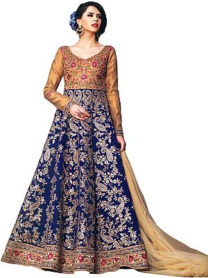 Golden and Blue Designer Floor-Length Anarkali Suit with Dense-Embroidery and Crystals