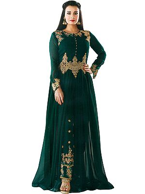 Deep-Teal Dia Mirza Designer Floor Length Suit with Embroidery and Crystals