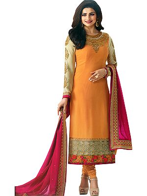 Marigold and Pink Designer Long Chudidar Kameez Suit with Embroidery and Crystals