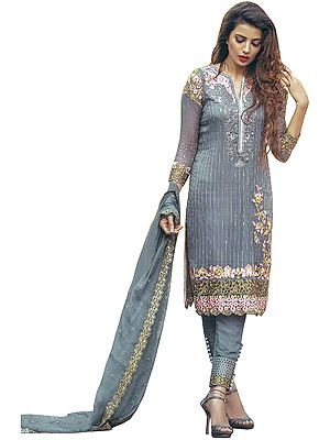 Citadel Designer Trouser Salwar Kameez Suit with Floral-Embroidery and Sequins