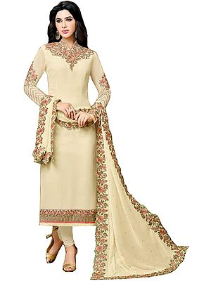 Powder-Yellow Long Chudidar Kameez Suit with Embroidered Patches and Cut-work on Dupatta