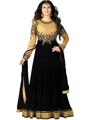 Golden and Black Ayesha Designer Anarkali Suit with Floral-Embroidery and Crystals