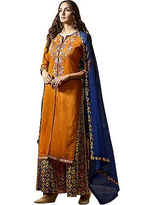 Apricot and Blue Digital-Printed Palazzo Salwar Suit with Embroidery on Neck