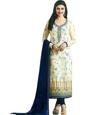 Cream and Blue Prachi Designer Long Chudidar Kameez Suit with Printed Flowers and Embroidery in Zari Thread