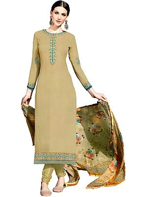Taos-Taupe Long Chudidar Kameez Suit with Embroidered Patches and Digital-Printed Chiffon Dupatta