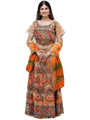 Embroidered Lehenga Choli from Jodhpur with Hand-Embroidered Beads and Mirrors
