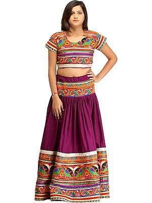 Wood-Violet Two-Piece Lehenga Choli with Floral-Embroidery and Mirrors