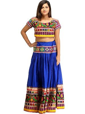 Princess-Blue Two-Piece Embroidered Lehenga Choli with Mirrors and Parrots on Border
