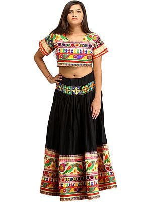 Phantom-Black Two-Piece Embroidered Lehenga Choli with Embroidered Parrots and Mirrors