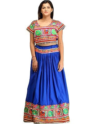 Nautical-Blue Embroidered Two-Piece Lehenga Choli with Elephants and Mirrors