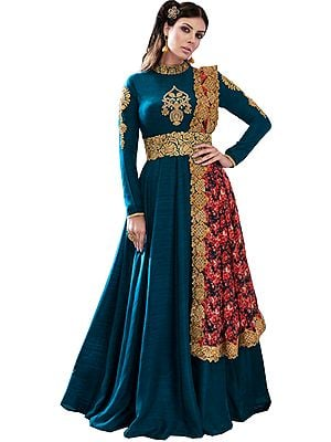 Lyons-Blue Floor Length Suit with Zari-Embroidery and Floral Printed Dupatta