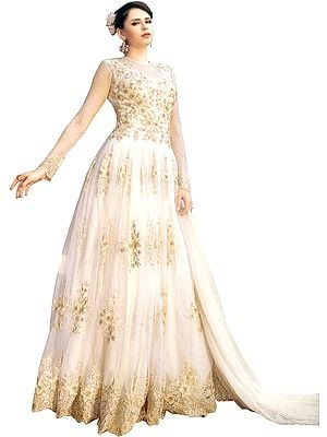 Ivory Wedding Floor Length Suit with Floral-Embroidery and Crystals