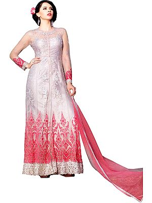 Gray and Pink Long Suit with Embroidery and Sequins