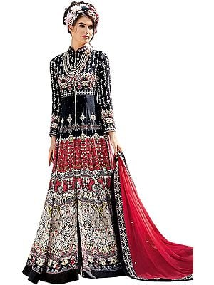 Black and Red Printed Floor-Length Anarkali Suit with Crystals