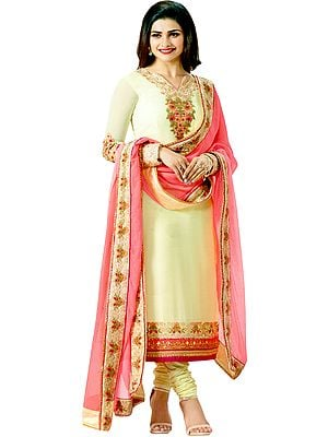 Vanilla Cream and Pink Prachi Designer Long Chudidar Kameez Suit with Floral-Embroidery