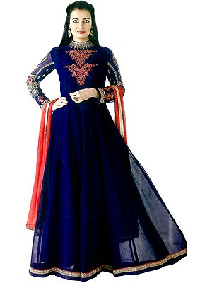 Navy-Blue Dia Mirza Long Suit with Embroidery and Crystals