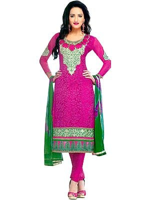 Raspberry-Rose Chudidar Kameez Suit with Floral Weave in Self and Embroidered Patches