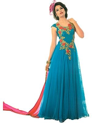 Cyan-Blue and Pink Wedding Gown with Embroidered Roses and Beads
