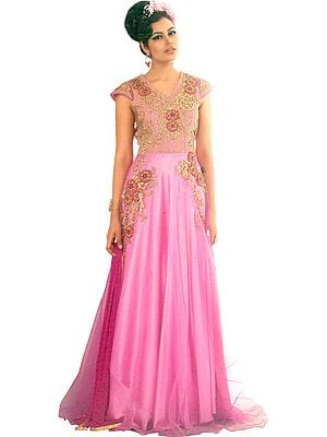 Fuchsia-Pink Wedding Gown with Zari-Embroidery and Sequins